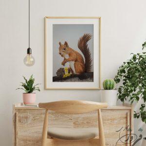 نقاشی مدادرنگی سنجاب