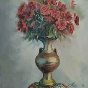 نقاشی گلدان گل